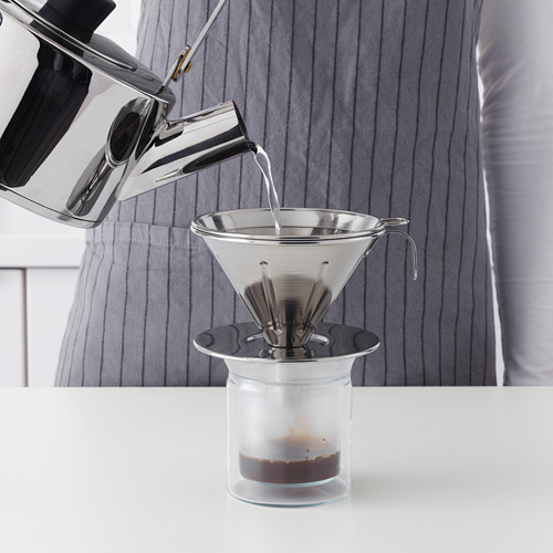 ÖVERST 3-piece metal filter coffee set