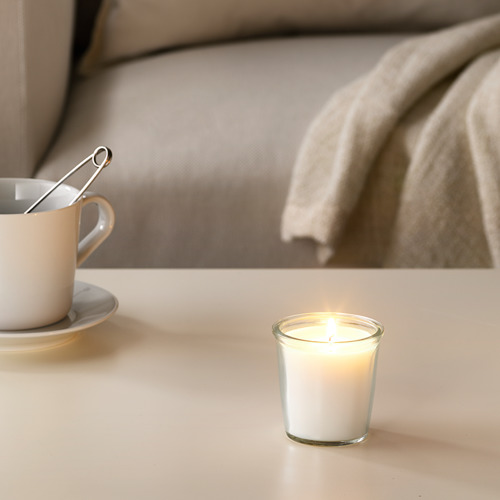SMÅTREVLIG scented candle in glass
