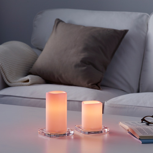 GODAFTON LED block candle in/out, set of 2