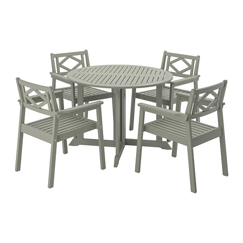 BONDHOLMEN lauko stalas+4 kėdės su porankiais