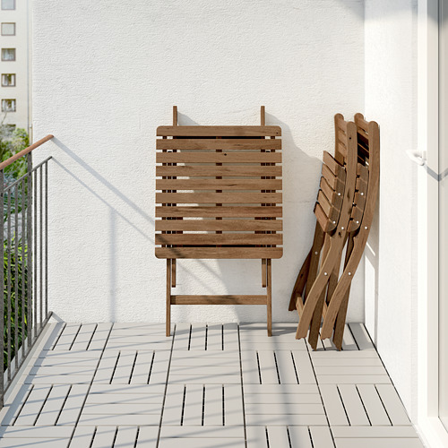 ASKHOLMEN table and 2 folding chairs, outdoor