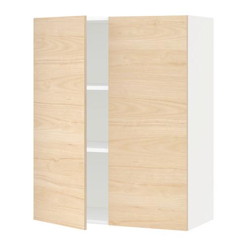 METOD skapītis ar plaukt. un 2 durv.  80x38.6x100 cm baltā krāsā/Askersund gaiša oškoka imitācija
