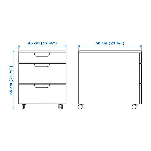 GALANT stalčių spintelė su ratukais