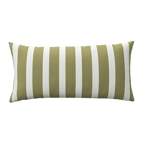 FUNKÖN, spilvens lietošanai telpās vai ārā 58x30 cm zaļganā smilškrāsā/baltā krāsā