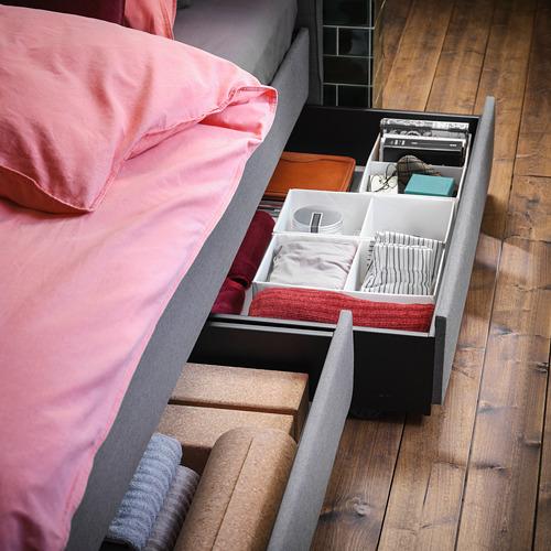 HAUGA кровать с обивкой,4 кроватных ящика