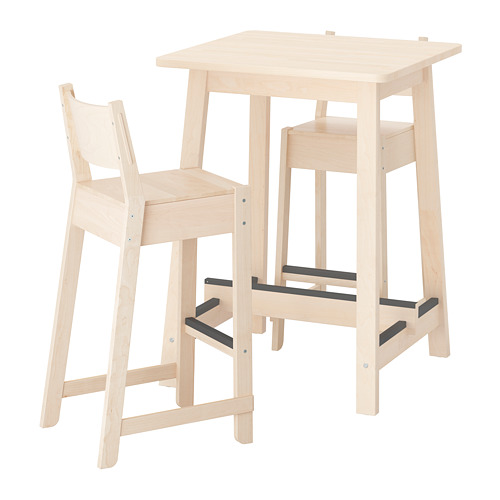 NORRÅKER/NORRÅKER baro stalas su 2 baro kėdėm