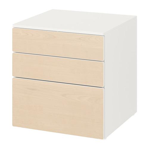 PLATSA/SMÅSTAD kumode ar 3 atvilktnēm  60x57x63 cm baltā krāsā/bērzkoks