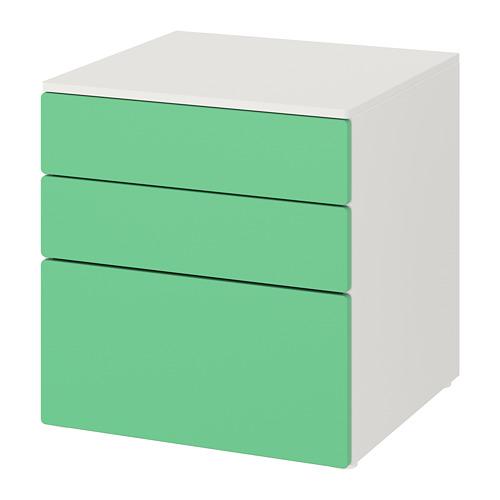PLATSA/SMÅSTAD kumode ar 3 atvilktnēm  60x57x63 cm baltā krāsā/zaļā krāsā