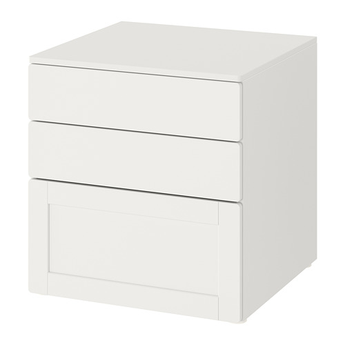 PLATSA/SMÅSTAD kumode ar 3 atvilktnēm  60x57x63 cm baltā krāsā baltā krāsā/rāmī