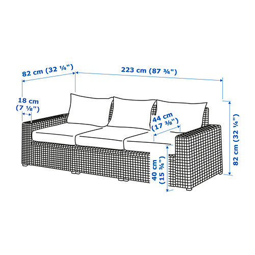 SOLLERÖN 3-местный модульный диван, садовый