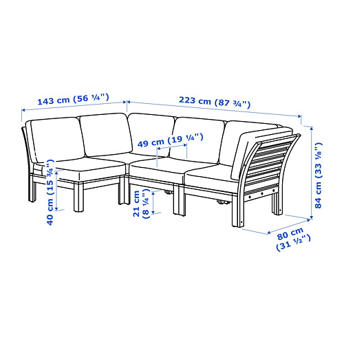 ÄPPLARÖ модульный угл 3-мест диван, садовый