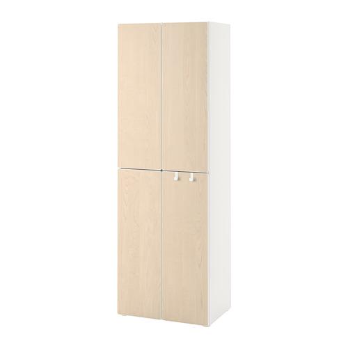 PLATSA/SMÅSTAD skapis  60x42x181 cm baltā krāsā bērzkoks/ar 2drēbju stangām