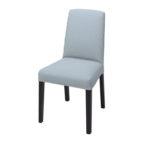 BERGMUND, krēsls 52x59x96 cm melnā krāsā/Rommele tumši zilā un baltā krāsā