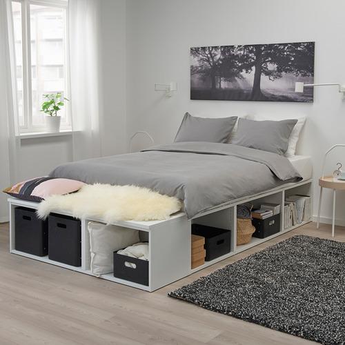 PLATSA lovos rėmas su vieta daiktams