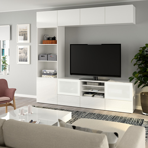 BESTÅ шкаф для ТВ, комбин/стеклян дверцы