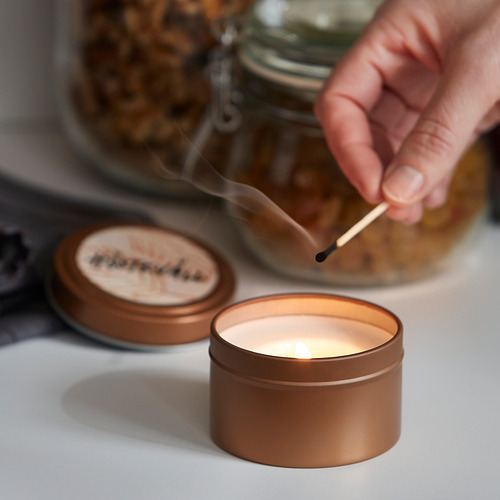 HÖSTKVÄLL scented candle in metal tin
