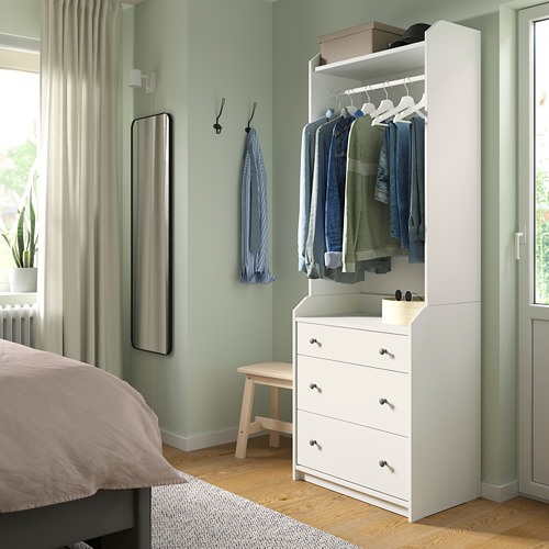 HAUGA open wardrobe with 3 drawers