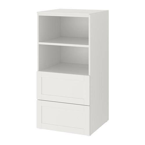 PLATSA/SMÅSTAD grāmatplaukts  60x57x123 cm baltā krāsā rāmī/ar 2atvilktnēm