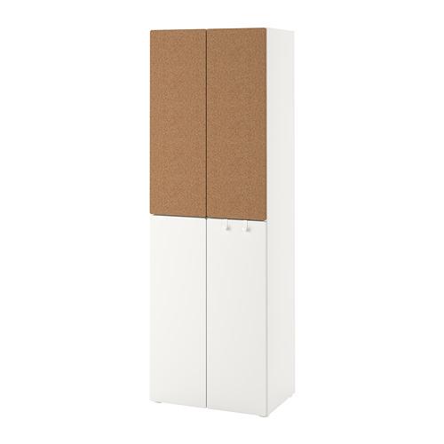 PLATSA/SMÅSTAD skapis  60x42x181 cm baltā krāsā korķis/ar 2drēbju stangām