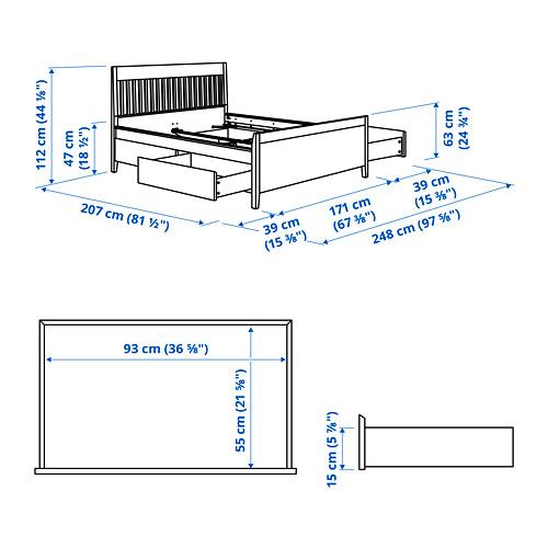 IDANÄS lovos rėmas su stalčiais