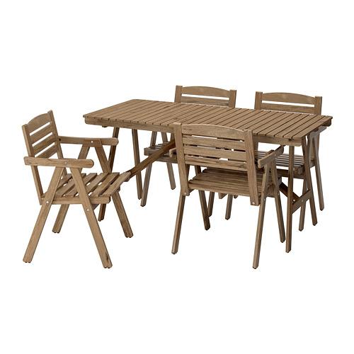 FALHOLMEN lauko stalas+4 kėdės su porankiais
