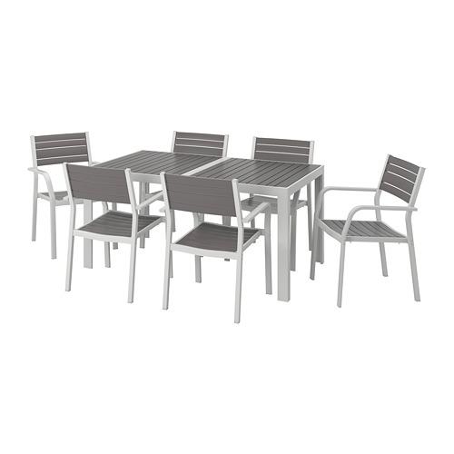 SJÄLLAND lauko stalas+6 kėdės su porankiais