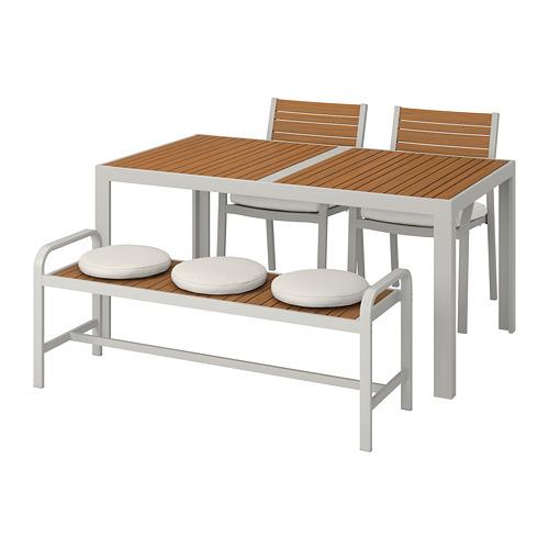 SJÄLLAND стол+2стула+скамья,д/сада