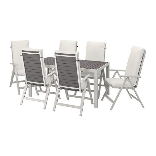 SJÄLLAND table+6 reclining chairs, outdoor
