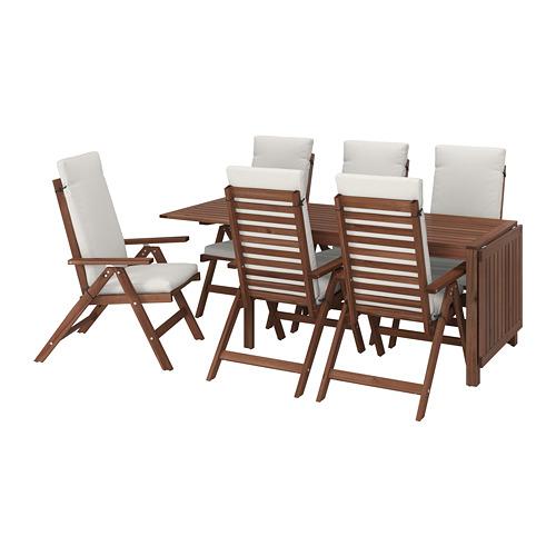 ÄPPLARÖ lauko stalas+6 atlošiamosios kėdės
