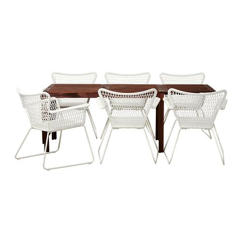 ÄPPLARÖ/HÖGSTEN lauko stalas+6 kėdės su porankiais