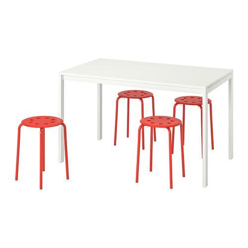 MELLTORP/MARIUS стол и 4 табурета
