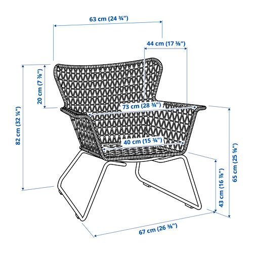 HÖGSTEN kėdė su porankiais, lauko