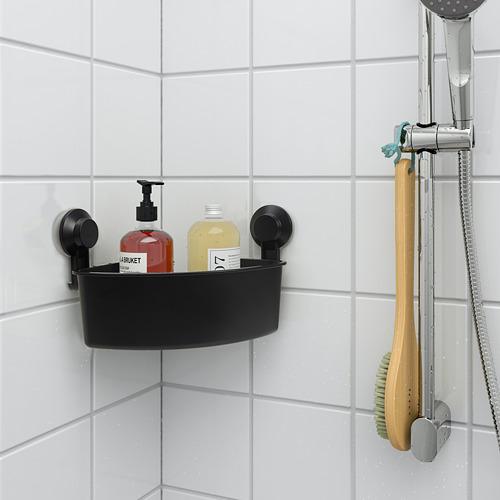 TISKEN corner shelf unit with suction cup