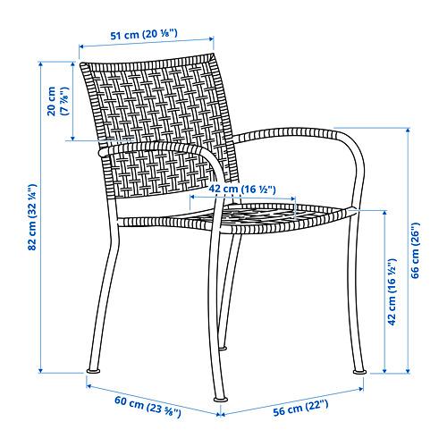 LÄCKÖ kėdė su porankiais, lauko