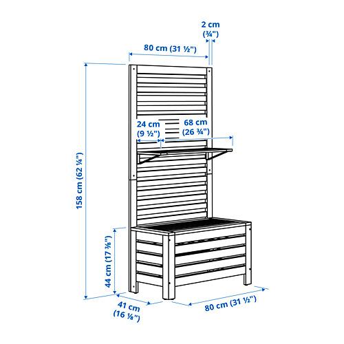 ÄPPLARÖ садовая скамья+панель/полки