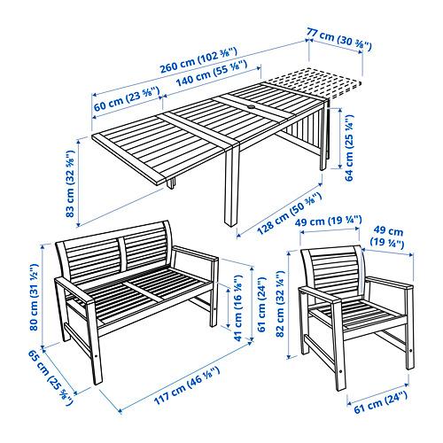 ÄPPLARÖ стол+2кресла+скамья, д/сада
