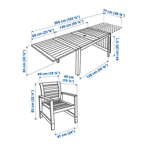 ÄPPLARÖ lauko stalas+4 kėdės su porankiais