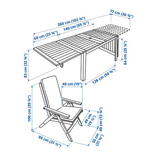 ÄPPLARÖ lauko stalas+4 atlošiamosios kėdės