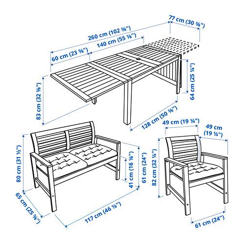 ÄPPLARÖ lauko stalas,2 kėdės su p.,suolas