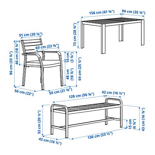 SJÄLLAND стол+2кресла+скамья, д/сада