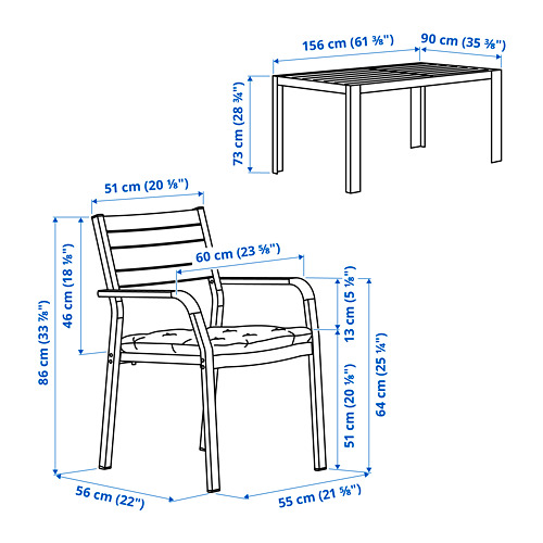 SJÄLLAND стол+4 кресла, д/сада