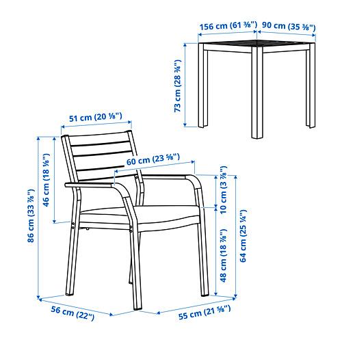 SJÄLLAND table+2 chairs w armrests, outdoor