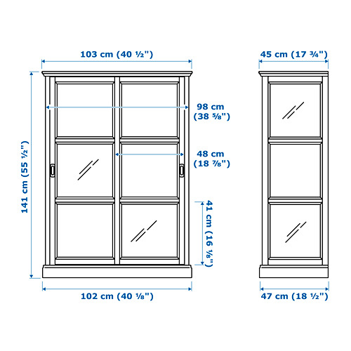 MALSJÖ spintelė su stiklinėmis durimis