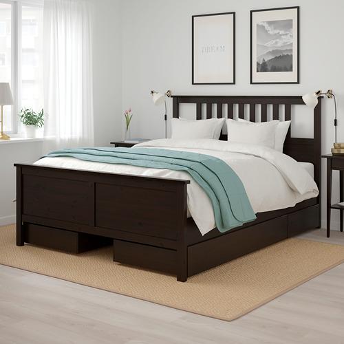 HEMNES lovos rėmas su 4 stalčiais