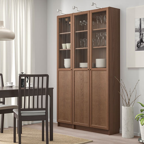 OXBERG/BILLY bookcase with panel/glass doors