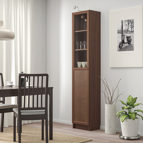 BILLY/OXBERG bookcase with panel/glass door