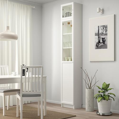 OXBERG/BILLY bookcase w hght ext ut/pnl/glss drs