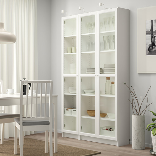 OXBERG/BILLY bookcase with glass-doors