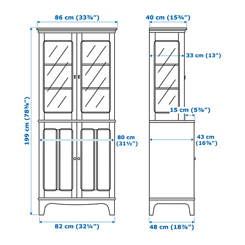LOMMARP spintelė su stiklinėmis durimis