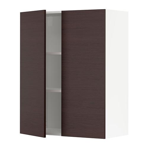 METOD, sienas skap. ar plaukt. un 2 durv. 80x38.6x100 cm baltā krāsā Askersund/tumši brūnā krāsā oškoka imitācija
